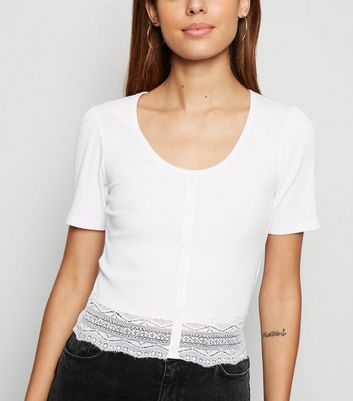 White Ribbed Button Front Lace Trim T-Shirt