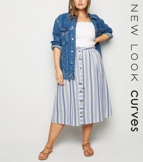 f6312e165f ... Curves White Stripe Linen Look Midi Skirt ...