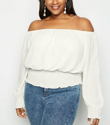 Curves Off White Shirred Hem Bardot Top
