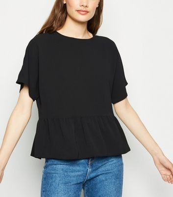 Black Short Sleeve Peplum T-Shirt