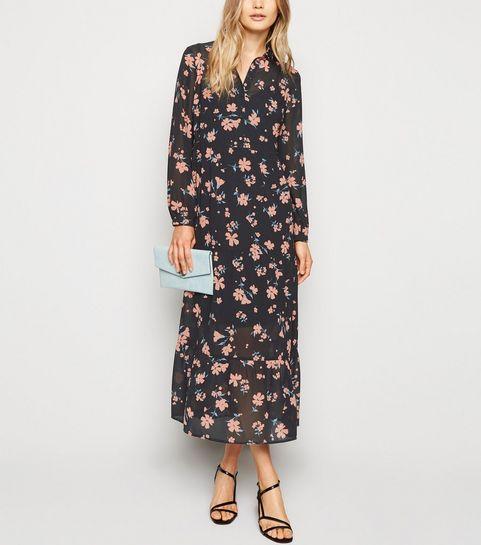 b34e9e8598 ... Black Floral Chiffon Midi Shirt Dress ...