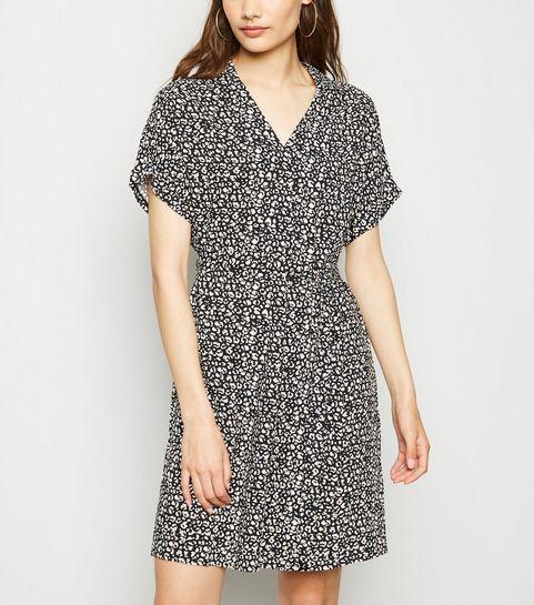 1d619215c94 ... Black Leopard Print Tie Waist Tunic Dress ...