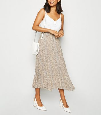 Petite Brown Snake Print Pleated Midi Skirt