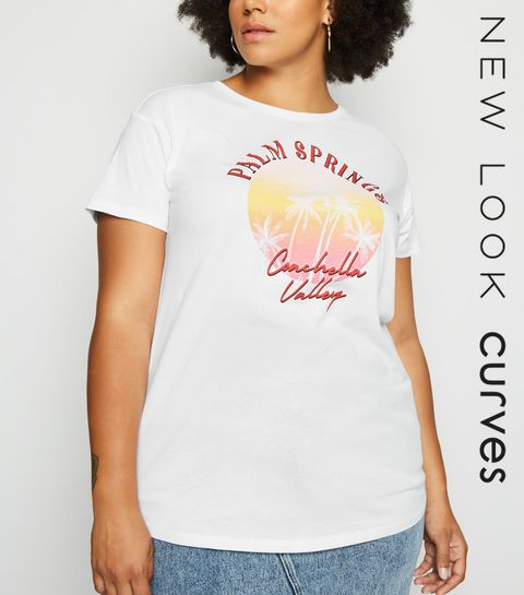 fc38cde6 ... Curves White Palm Springs Slogan Print T-Shirt ...