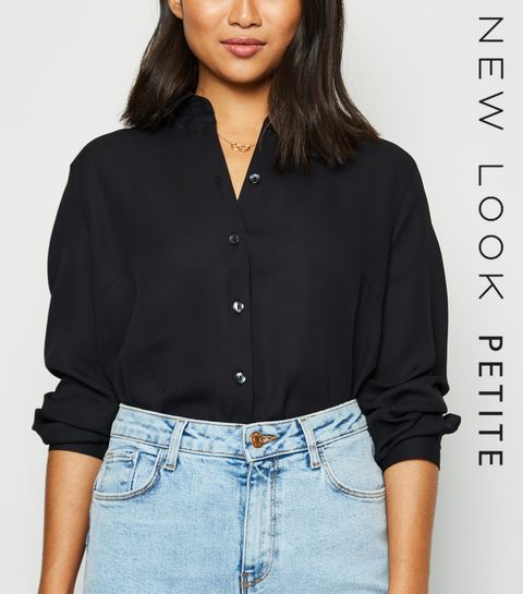 91358b3b4f4725 Petite Black Chiffon Shirt · Petite Black Chiffon Shirt ...