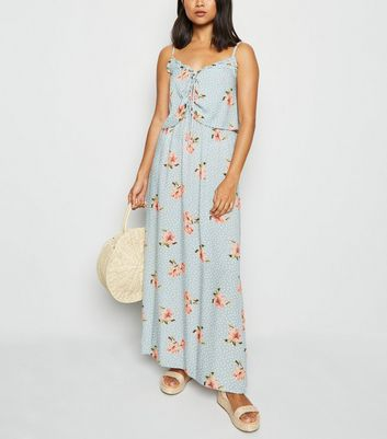 Petite Blue Floral Spot Lace Up Maxi Dress