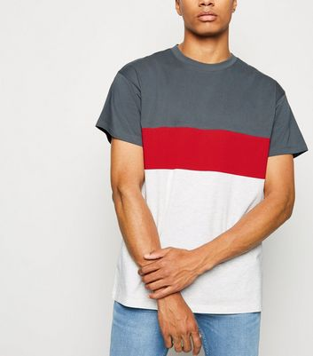 Dark Grey Colour Block Crew T-Shirt