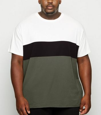 Plus Size Khaki Colour Block T-Shirt
