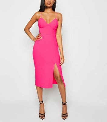 Petite Bright Pink Neon Bustier Midi Dress