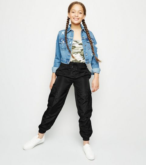 0b545bbe5a4 ... Girls Black High Shine Utility Joggers ...