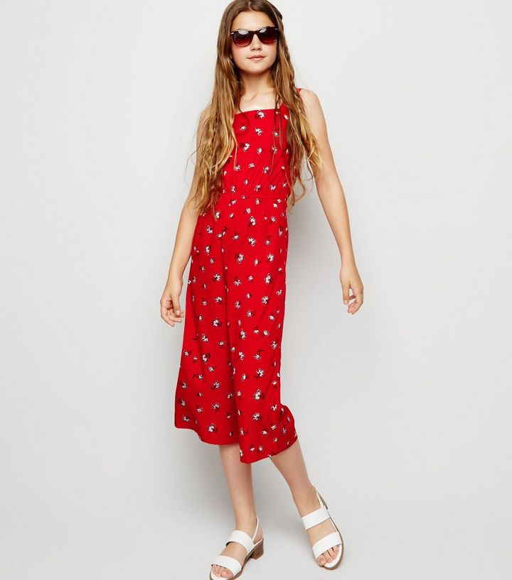 cb17728bbb40 Girls Red Floral Square Neck Jumpsuit   New Look