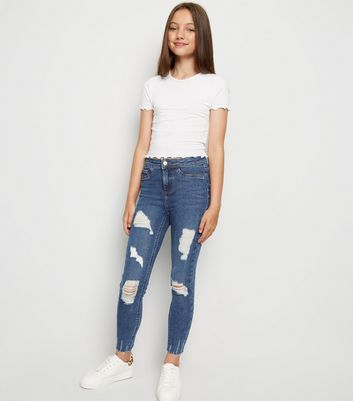 Girls Navy High Waist Ripped Super Skinny Jeans