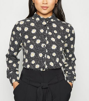 Petite Black Daisy Long Sleeve Shirt