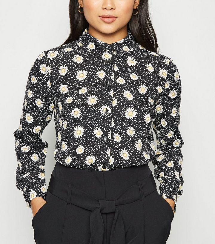 b1f6dbebf90c5d Petite Black Daisy Long Sleeve Shirt | New Look