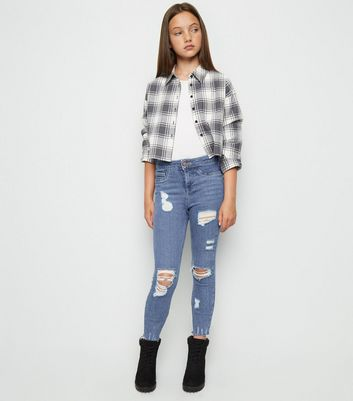 Girls Blue Ripped High Waist Super Skinny Jeans Add to Saved Items Remove  from Saved Items