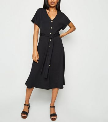 Petite Black Button Up Midi Dress