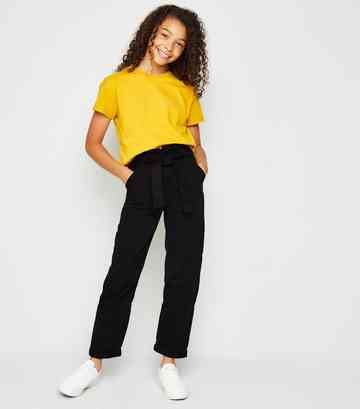 Girls Black Denim Paperbag Utility Trousers