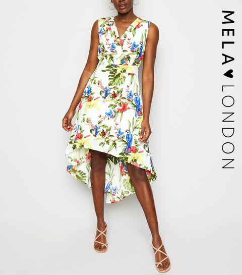 2b5639a4d486c3 ... Mela Off White Tropical Dip Hem Dress ...