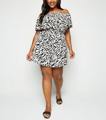 Curves Off White Tiger Print Bardot Playsuit