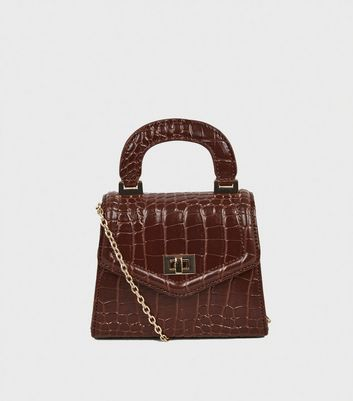 Dark Brown Faux Croc Mini Cross Body Bag