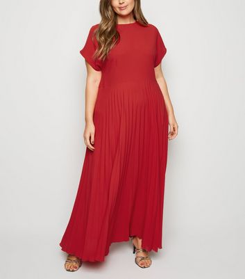 Curves Red Pleated Maxi Dress