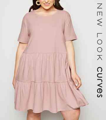 Curves Pale Pink Short Sleeve Smock Dress