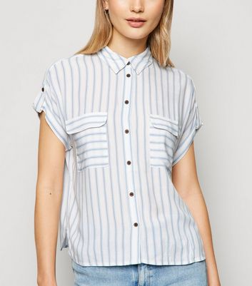 Blue Stripe Utility Pocket Shirt