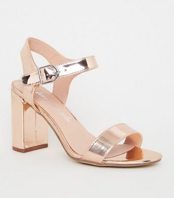 Rose Gold Metallic 2 Part Block Heels