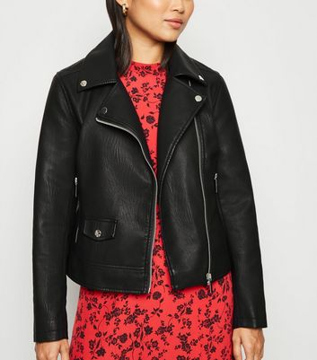 Petite Black Leather-Look Biker Jacket