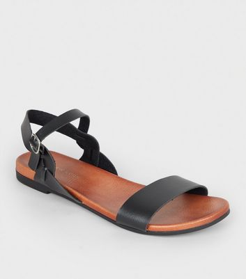 Black Leather-Look 2 Part Footbed Sandals