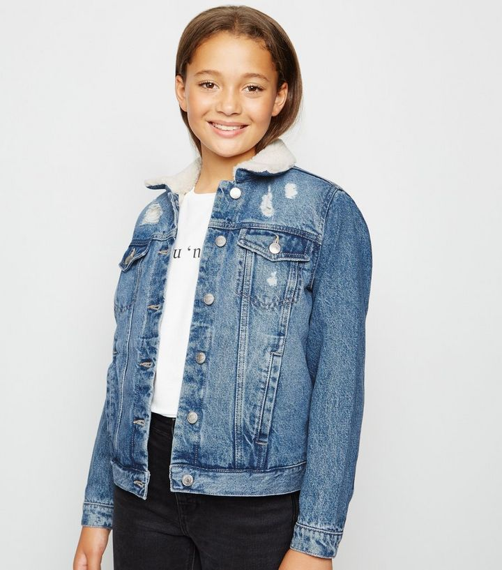 finest fabrics super service discover latest trends Girls Blue Teddy Lined Denim Jacket Add to Saved Items Remove from Saved  Items