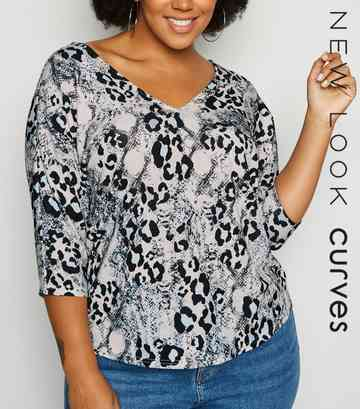 Curves White Mixed Animal Print Top