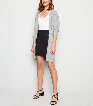 Black Slim Stretch Zip Mini Skirt
