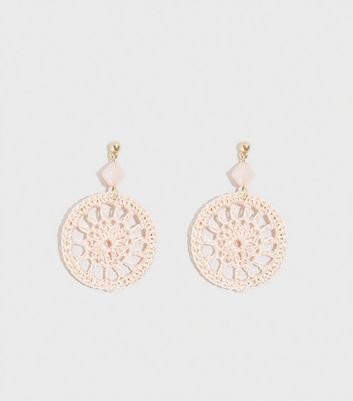 Pale Pink Crochet Disc Earrings
