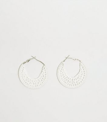 White Crochet Hoop Earrings