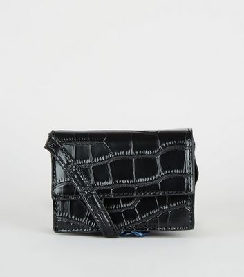 Black Faux Croc Mini Cross Body Bag