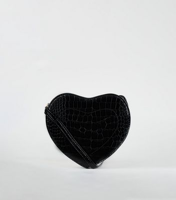 Black Faux Croc Heart Cross Body Bag