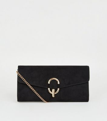 Black Suedette Ring Clutch Bag