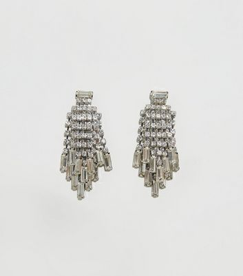 Silver Premium Diamanté Tassel Earrings