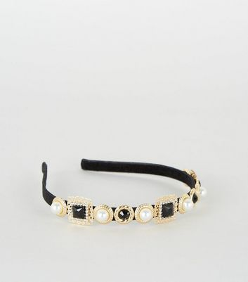 Black Gem and Faux Pearl Alice Band