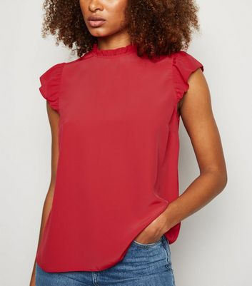 Red Frill Trim Sleeveless Blouse