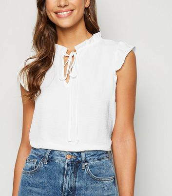 Off White Tie Neck Sleeveless Top