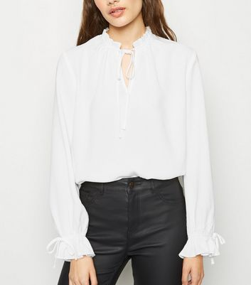 Off White Tie Neck Long Sleeve Blouse
