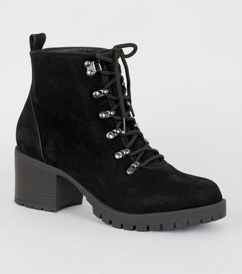 Wide Fit Black Lace Up Chunky Hiker Boots