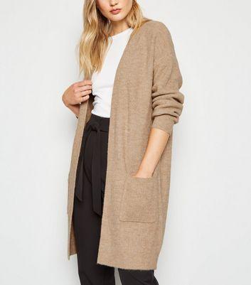 Camel Longline Ribbed Knit Cardigan