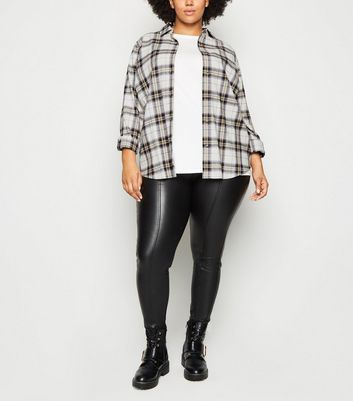 Curves White Check Oversized Shirt by New Look
