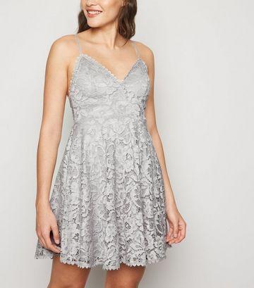 Grey Lace Bustier Skater Dress