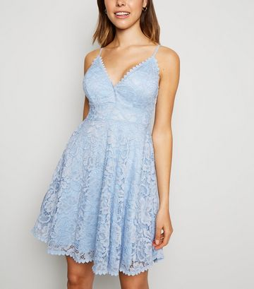 Pale Blue Lace Bustier Skater Dress