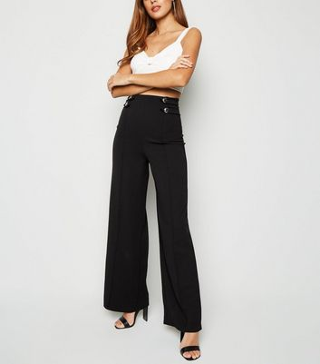 Black Military Wide Leg Trousers