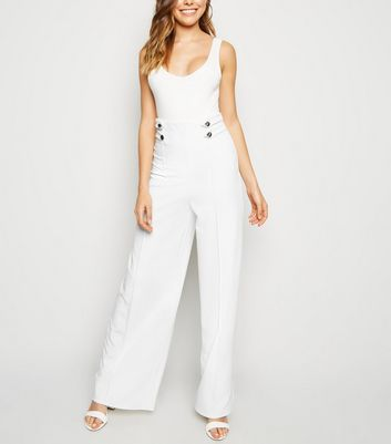 White Military Wide Leg Trousers